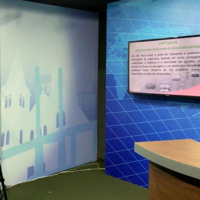 Em nossa nova estrutura de gravação de Videoaulas, possuímos 3 (três) cenários distintos que também podem ser utilizados para outros tipos de filmagens.